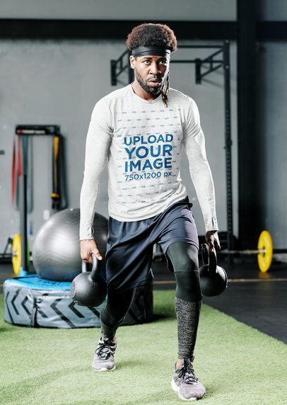 Mockup of a Man Wearing a Heather Long Sleeve Tee at the Gym 38224-r-el2