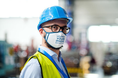 Face Mask Mockup Featuring a Bearded Worker 39659-r-el2