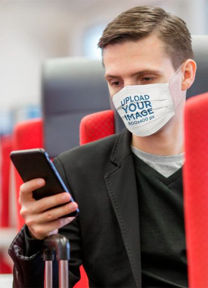 Face Mask Mockup Featuring a Man on a Train 39898-r-el2