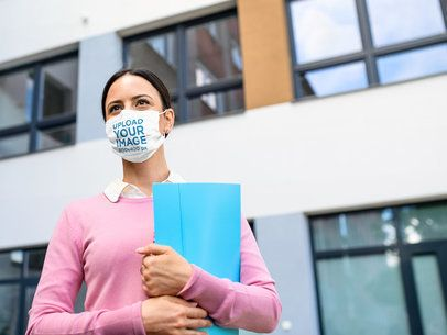 Face Mask Mockup Featuring a Woman at Work 39932-r-el2