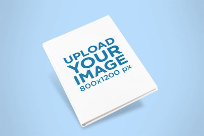 Mockup of a Hardcover Book Angled Over a Colored Surface 11620a