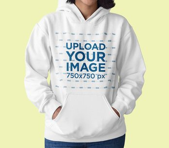 Closeup View Mockup Featuring a Woman with a Pullover Hoodie at a Studio 15473a