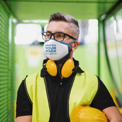 Face Mask Mockup of a Worker Wearing Safety Equipment 39916-r-el2