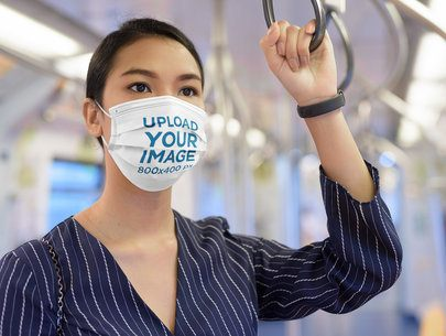 Face Mask Mockup of a Woman on the Subway 39939-r-el2