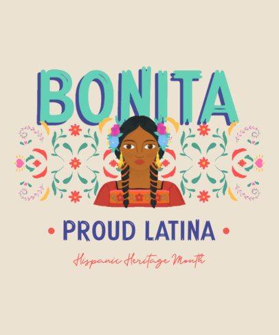 T-Shirt Design Template Featuring a Latin Woman Illustration 2778b