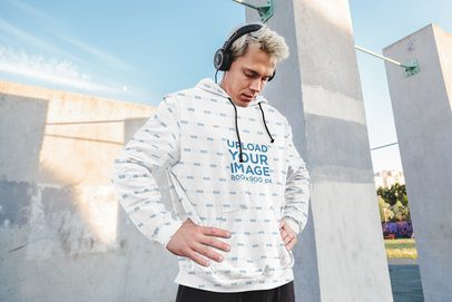 Sublimated Hoodie Mockup of a Man Stretching Before Going for a Run 40044-r-el2