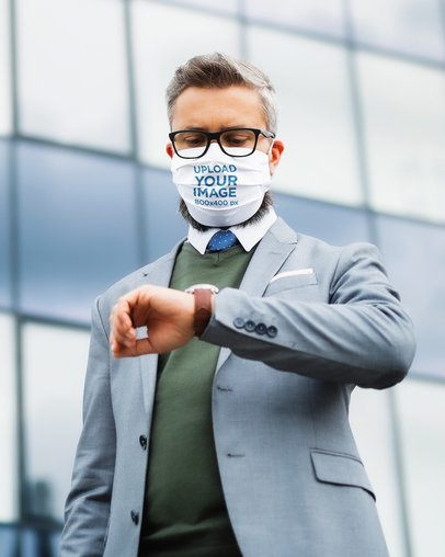 Face Mask Mockup Featuring a Man in a Corporate Outfit 39927-r-el2