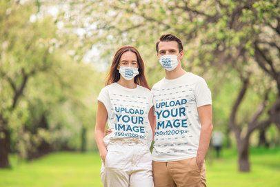 T-Shirt Mockup of a Couple Wearing Face Masks 39908-r-el2