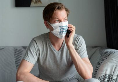 Mockup of a Man Wearing a Face Mask While Talking on the Phone at Home 40533-r-el2