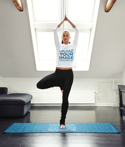 Long Sleeve Tee Mockup Featuring a Woman Doing Yoga on a Mat 35238-r-el2