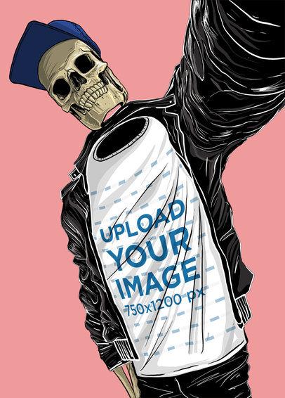 T-Shirt Mockup Featuring an Illustrated Skeleton Cartoon 39592
