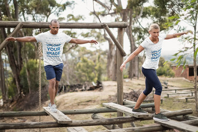 T-Shirt Mockup Featuring Two Recruits at an Obstacle Camp 40618-r-el2