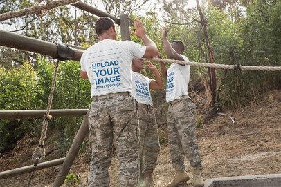 T-Shirt Mockup Featuring Three Military Recruits 40724-r-el2