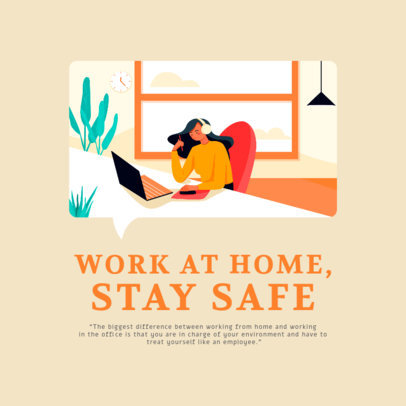 Instagram Post Maker Featuring Colorful Graphics of People Doing Home Office 2591-el1