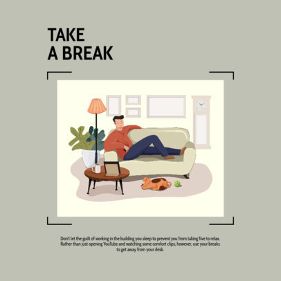 Relaxed Instagram Post Creator Suggesting to Take a Break from Work 2588b-el1