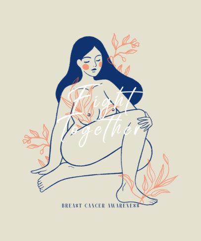 Cancer Awareness T-Shirt Design Maker Featuring a Woman Illustration 2820d
