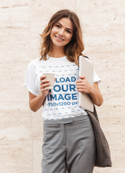 T-Shirt Mockup of a Young Woman Ready to Go to Work 39370-r-el2