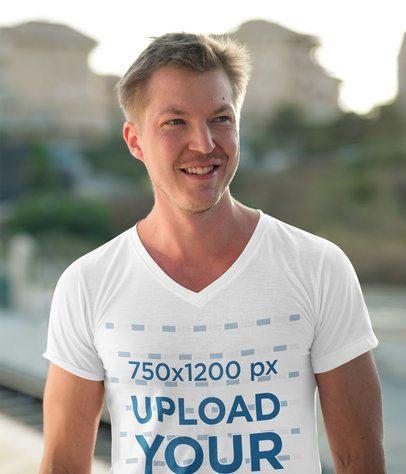 Mockup of a Happy Man Wearing a V-Neck T-Shirt 40521-r-el2