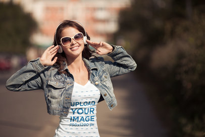 V-Neck T-Shirt Mockup of a Young Woman Listening to Music 38056-r-el2