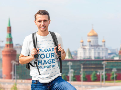 T-Shirt Mockup of a Tourist Man Backpacking in a City 39860-r-el2