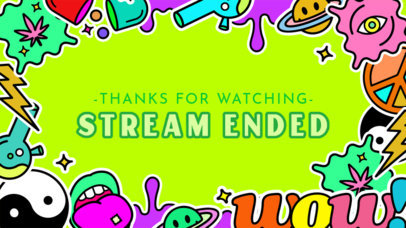 Twitch Banner Template with a Psychedelic Style 2825g