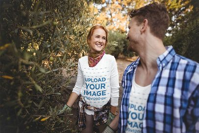T-Shirt and Long-Sleeve Tee Mockup of a Couple Doing Some Gardening 40581-r-el2