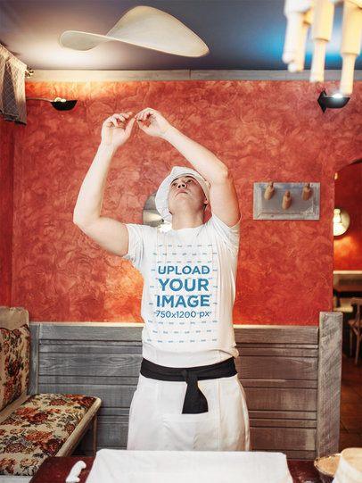 T-Shirt Mockup of a Man Making Pizza Dough 34841-r-el2