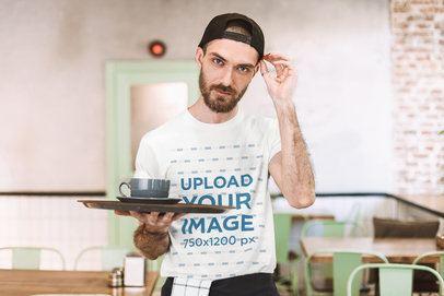 T-Shirt Mockup of a Waiter Posing at a Restaurant 39786-r-el2