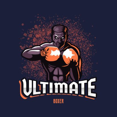 Illustrated Sports Logo Maker Featuring a Boxer Character 3586d