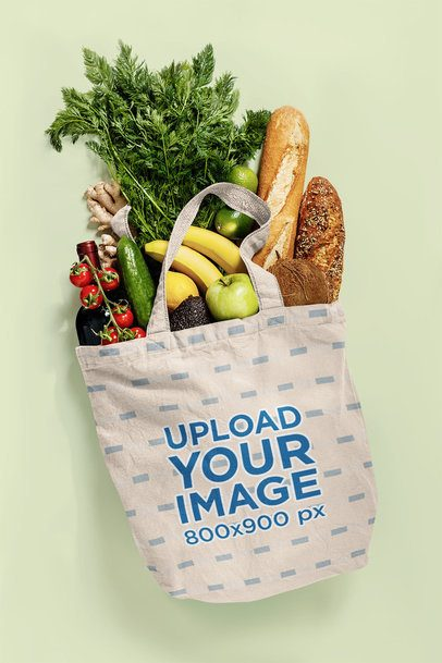 Mockup of a Grocery Bag Filled with Food 41546-r-el2