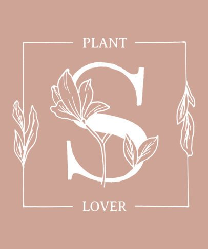 Feminine T-Shirt Design Maker Featuring Floral Alphabet Letters 2598b