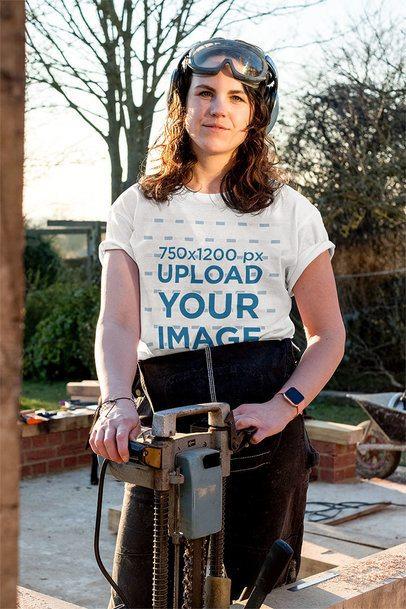 T-Shirt Mockup of a Woman Building a House 39080-r-el2