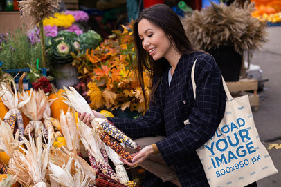 Grocery Bag Mockup Featuring a Happy Woman at a Farmers' Market 41757-r-el2
