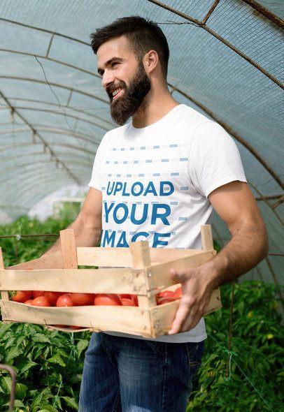 T-Shirt Mockup Featuring a Happy Man in a Greenhouse 40374-r-el2