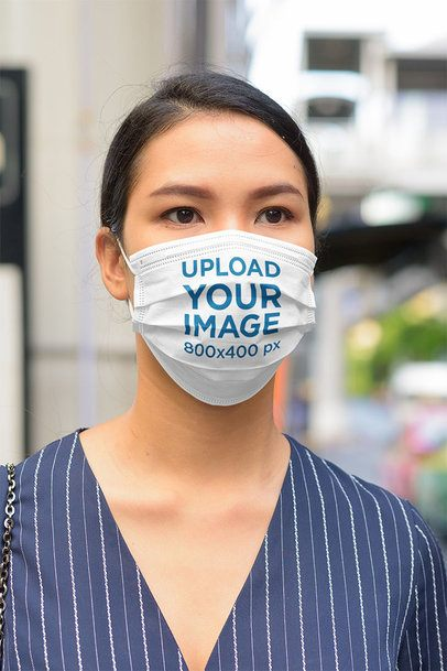 Face Mask Mockup of a Young Woman on the Street 41236-r-el2
