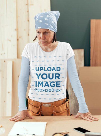 T-Shirt Mockup of a Woman at a Wood Workshop 37119-r-el2