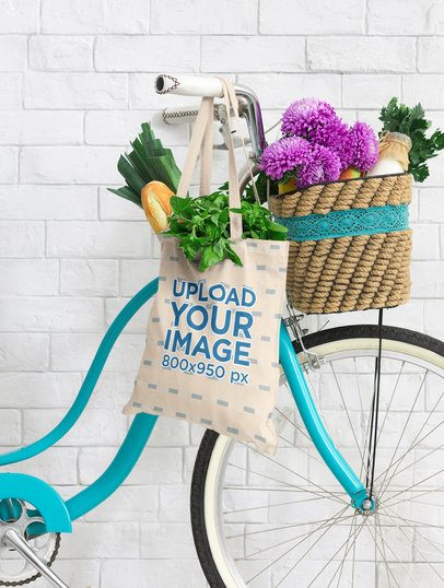 Mockup Featuring a Grocery Bag Hanging From a Bike's Handlebar 41698-r-el2