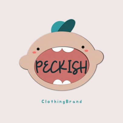 Kids' Clothing Brand Logo Template Featuring a Boy With a Big Mouth 3607d