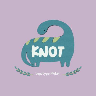 Apparel Logo Template Featuring a Cute Dinosaur Clipart 3607f