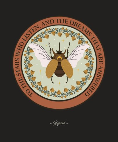 Still-Life-Inspired T-Shirt Design Creator with a Hercules Beetle Illustration 2841c