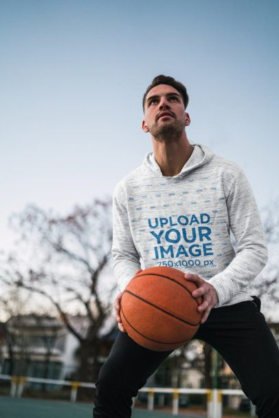 Heathered Pullover Hoodie Mockup of a Man Playing Basketball 40475-r-el2