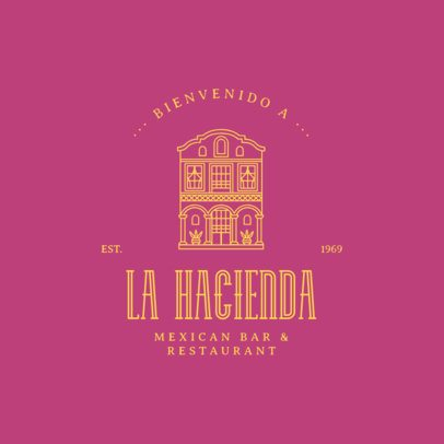 Logo Maker for a Mexican Restaurant Featuring a Building Facade Graphic 3605g