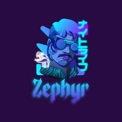 Cyberpunk-Styled Logo Generator Featuring Neon Colors and a Character Graphic 3601c