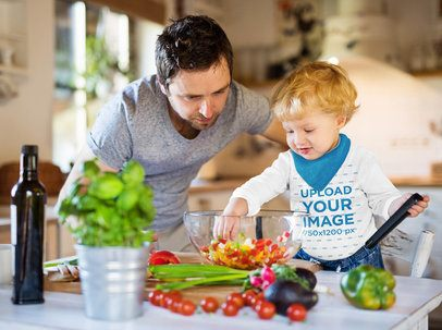 Long Sleeve Tee Mockup of a Toddler Cooking With His Father 41846-r-el2