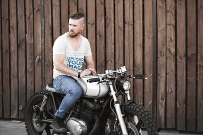 Heather T-Shirt Mockup of a Man Sitting on His Custom Motorbike 41670-r-el2