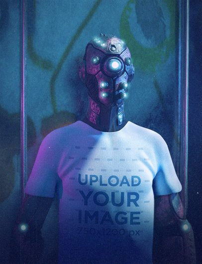 Illustrated T-Shirt Mockup Featuring a Hyperrealistic Cyborg 42616