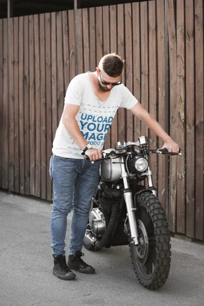T-Shirt Mockup of a Man About to Ride His Motorcycle 41673-r-el2
