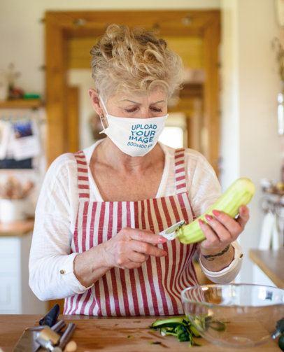 Face Mask Mockup of a Senior Woman Cooking at Home 41610-r-el2