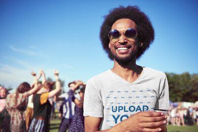 T-Shirt Mockup of a Happy Man at a Music Festival 41091-r-el2