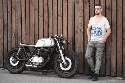 Mockup of a Man with a Scoop Neck Tee Posing Next to a Motorcycle 41680-r-el2